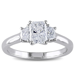 Miadora Signature Collection 14k White Gold 1 1/10ct TDW IGL-certified Radiant Cut Diamond Ring (D-E, SI1-SI2)