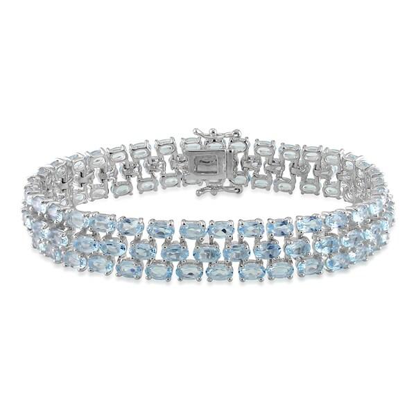 Miadora Sterling Silver Blue Topaz Bracelet