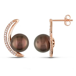 Miadora 14k Rose Gold Tahitian Pearl and 1/5ct TDW Diamond Earrings (G-H, I1-I2) (8.5-9 mm)