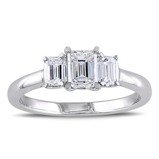 Miadora 14k Gold 1ct TDW Emerald Cut Three Stone Diamond Ring (G-H, SI1-SI2)