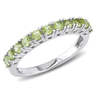 Miadora Sterling Silver Peridot Semi-eternity Ring