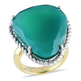 Miadora Yellowplated Silver Green Onyx Cocktail Ring