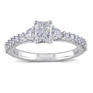 Miadora 14k White Gold 1ct TDW Radiant Cut Diamond Engagement Ring (G-H, I1-I2)
