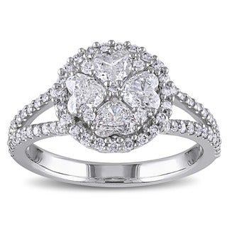 Miadora 14k White Gold 1 1/10ct TDW Diamond Heart Ring (G-H, I1-I2)