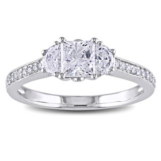 Miadora 14k White Gold 1 1/10ct TDW Half Moon Side Stone Diamond Ring (G-H, I1-I2)