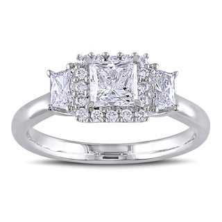 Miadora 14k White Gold 1 1/10ct TDW Princess Cut Diamond Ring (G-H, I1-I2)