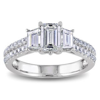 Miadora 14k White Gold 1 1/2ct TDW Emerald Cut Diamond Ring (G-H, SI1-SI2)