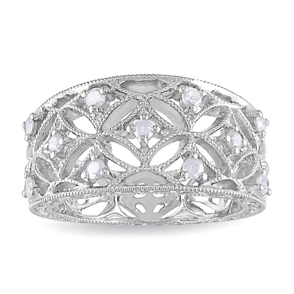 Haylee Jewels Sterling Silver 1/4ct TDW Diamond Band-style Ring (H-I, I2-I3)