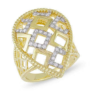 Miadora Yellow Plated Silver 1/4ct TDW Diamond Ring (H-I, I2-I3)