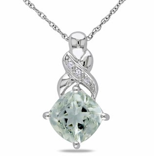 Miadora 10k White Gold Green Amethyst and Diamond Necklace (H-I, I2-I3)