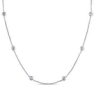Miadora 14k White Gold 1/2ct TDW Diamond by the Yard Necklace (G-H, SI1-SI2)