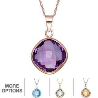 Gioelli Rose Gold over Silver 9 1/2ct TGW Gemstone Briolette Necklace