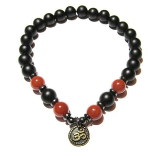 Wealth and Prosperity Red Carnelian and Matte Black Onyx Positive Energy Bracelet and Ohm Charm