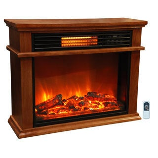 Lifesmart Easy Set Deluxe Mantle Quakerstown Oak Fireplace