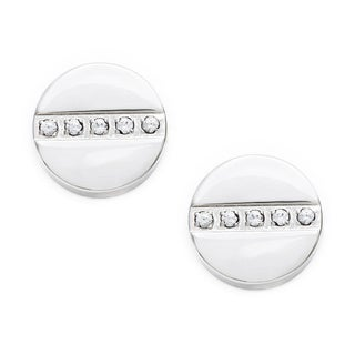 Alexa Starr Stainless Steel 15mm Round Stud Earrings with Rhinestones