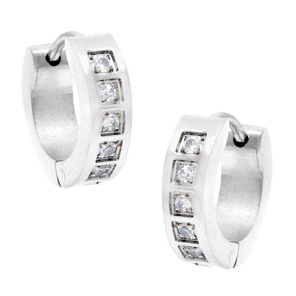Alexa Starr Stainless Steel 4mm Rhinestone Ear Cuff Earrings