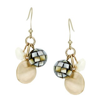 Alexa Starr Mosaic Shell and Hammered Gold Cluster Earrings