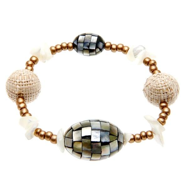 Alexa Starr Mosiac Created Shell Bead Stretch Bracelet