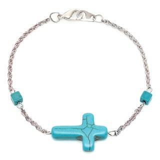 Alexa Starr Silvertone Created Turquoise Sideways Cross Bracelet