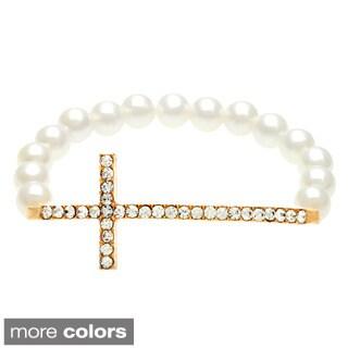Alexa Starr Goldtone Faux Pearl and Rhinestone Sideways Cross Bracelet