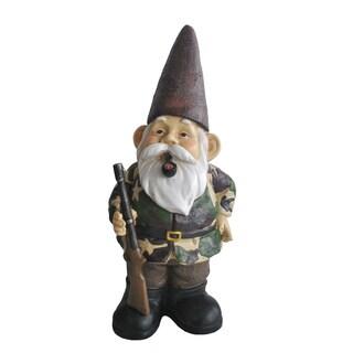 Camo Hunting Gnome Resin-stone Statue