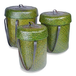 Dark Green Baskets with Lids (Set of 3)