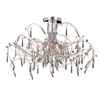 Somette Grandcour 10-light Royal Cut Crystal and Chrome Flush Mount