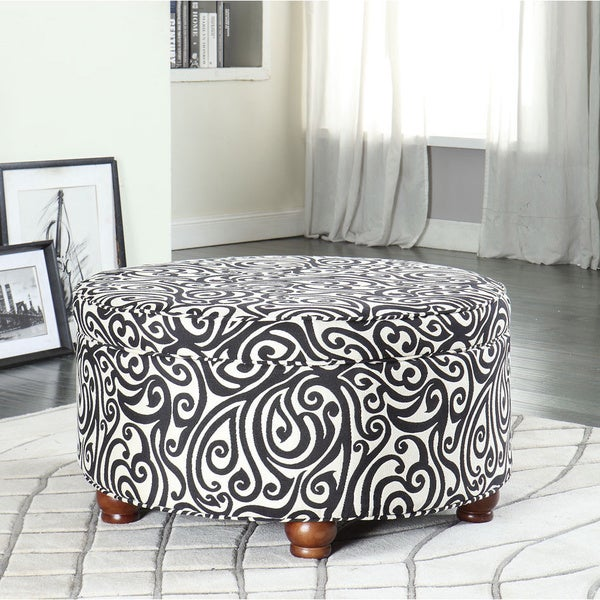 Textured Black Luxurious Round Ottoman