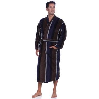 Majestic Men's Navy/Brown Fancy Terry Velour Robes