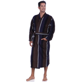 Majestic Men's Navy/Brown Fancy Terry Velour Robes