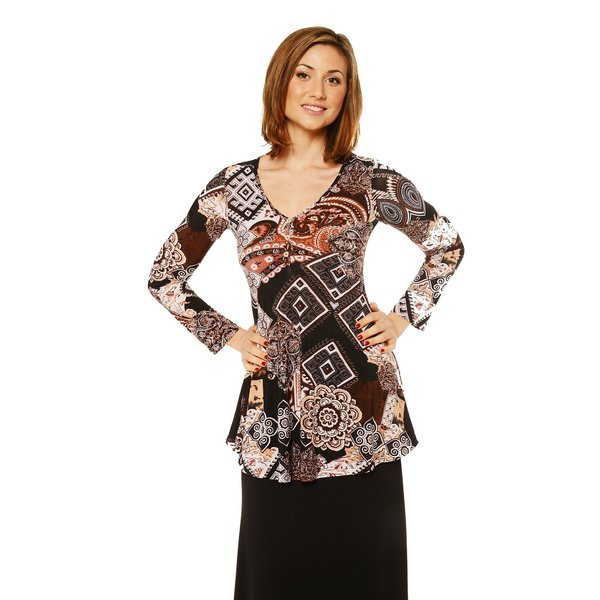 24/7 Comfort Apparel Women's Printed Long Sleeve Three Button Tunic Top