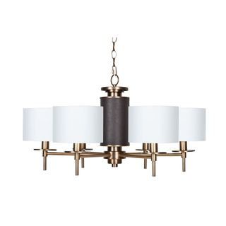 Chocolate Brown and Burnished Brass Chandelier