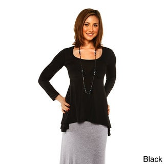 24/7 Comfort Apparel Women's Long Sleeve High-Low Tunic Top