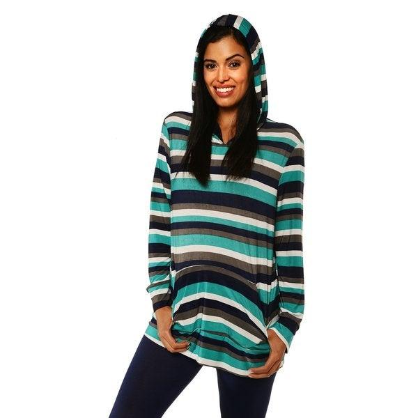 24/7 Comfort Apparel Women's Striped Long Sleeve Hoodie Top