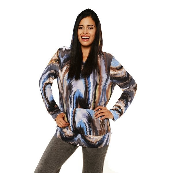 24/7 Comfort Apparel Women's Multi-color Long Sleeve Hoodie Top