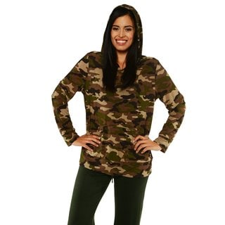 24/7 Comfort Apparel Women's Camo Long Sleeve Hoodie Top