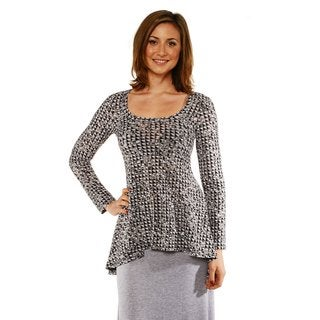 24/7 Comfort Apparel Women's Printed Long Sleeve Tunic Top
