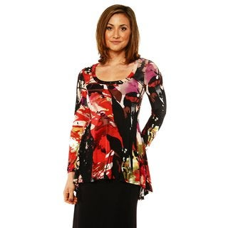 24/7 Comfort Apparel Women's Printed Long Sleeve High-Low Tunic Top