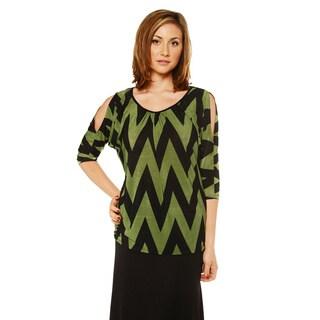 24/7 Comfort Apparel Women's Zig Zag 3/4 Split Sleeve Top