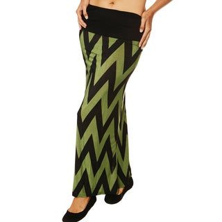24/7 Comfort Apparel Women's Zig-Zag Print Fold-over Maxi Skirt