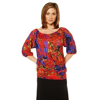 24/7 Comfort Apparel Women's Printed 3/4 Sleeve Top