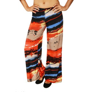 24/7 Comfort Apparel Women's 'Palazzo' Multi-colored Wide-leg Pants