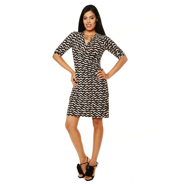 24/7 Comfort Apparel Women's Brown and White Faux-wrap Dress
