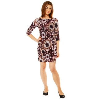 24/7 Comfort Apparel 3/4 Sleeve Knee length Dress