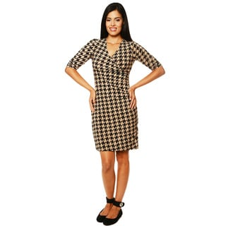 24/7 Comfort Apparel Women's Faux Wrap Printed Dress