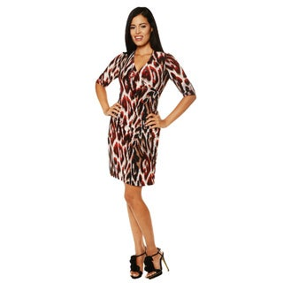 24/7 Comfort Apparel Women's Printed Faux Wrap Dress
