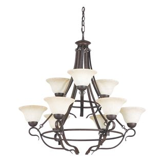 9-lights Rubbed Bronze Venice Chandelier