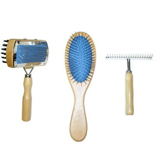 Best In Show 3-piece Wooden Pet Grooming Tool Set (Combo Brush, Pin Brush & Shedding Rake)