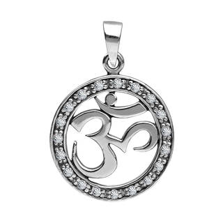 Enclosed Aum or Om White Cubic Zirconia .925 Silver Pendant (Thailand)