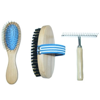 Best-in-Show 3-piece Wooden Pet Grooming Tool Set (Pin Brush, Palm Bristle Brush & Shedding Rake)